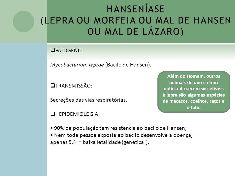 HANSENÍASE (LEPRA OU MORFEIA OU MAL DE HANSEN OU MAL DE LÁZARO) PATÓGENO: Mycobacterium leprae (Bacilo de Hansen). TRANSMISSÃO: Secreções das vias res
