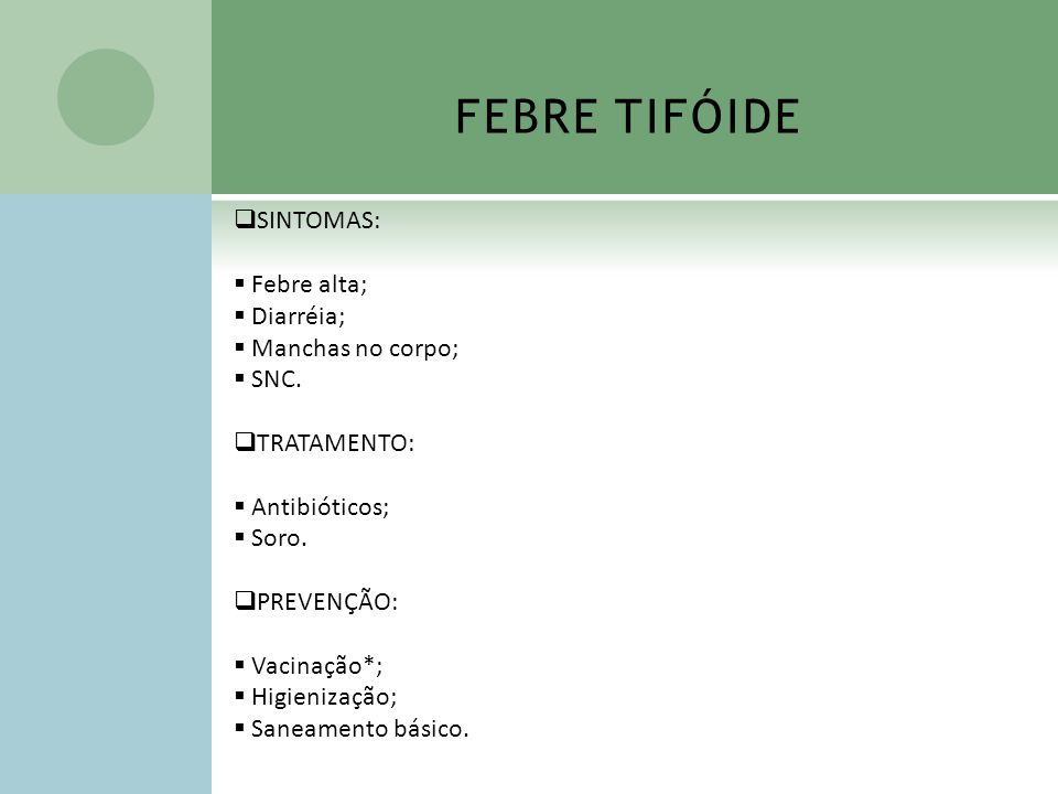 FEBRE TIFÓIDE SINTOMAS: Febre alta; Diarréia; Manchas no corpo; SNC. TRATAMENTO: Antibióticos; Soro. PREVENÇÃO: Vacinação*; Higienização; Saneamento b