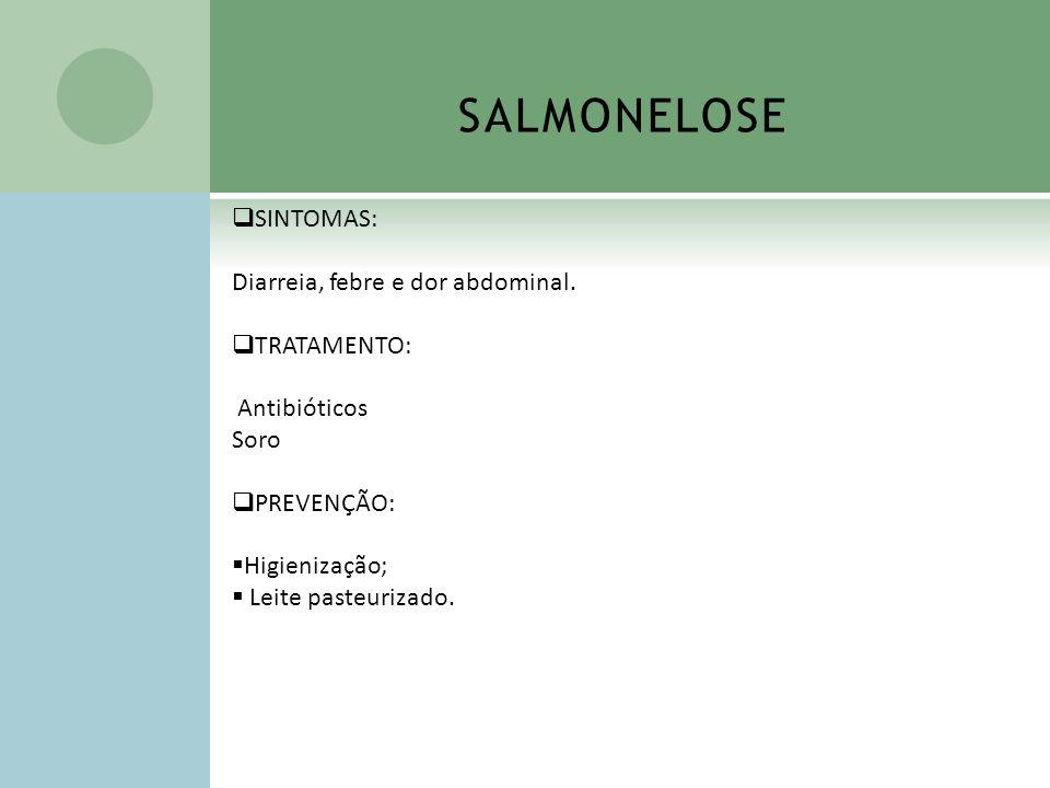 SALMONELOSE SINTOMAS: Diarreia, febre e dor abdominal. TRATAMENTO: Antibióticos Soro PREVENÇÃO: Higienização; Leite pasteurizado.