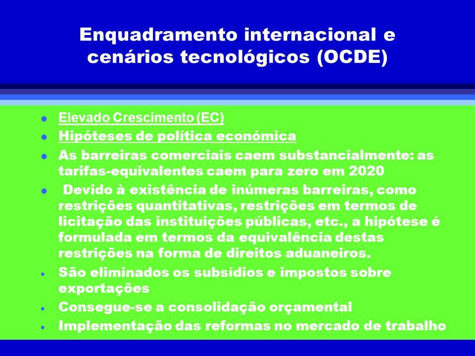 Enquadramento internacional e cenários tecnológicos (OCDE) Elevado Crescimento (EC) l Hipóteses de política económica l As barreiras comerciais caem s