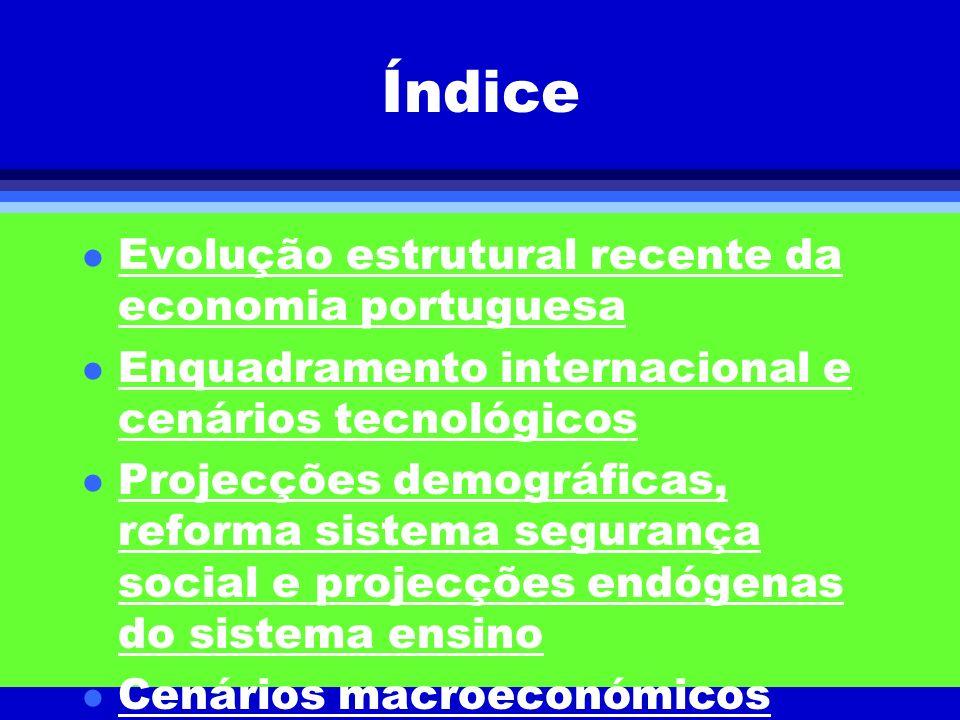 Índice l Evolução estrutural recente da economia portuguesa l Enquadramento internacional e cenários tecnológicos l Projecções demográficas, reforma s