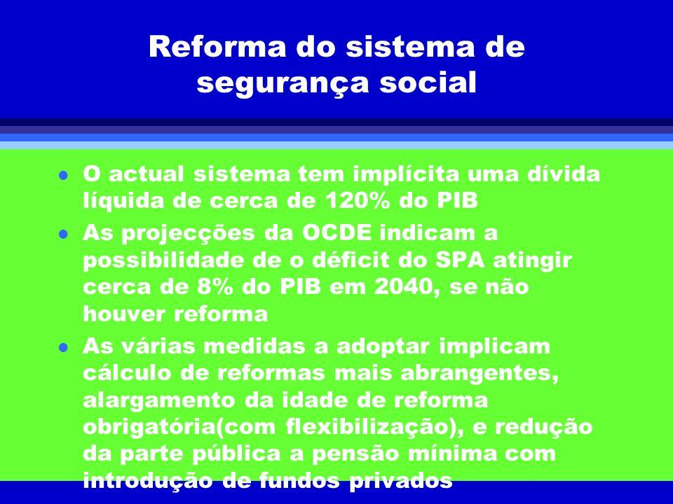 Reforma do sistema de segurança social l O actual sistema tem implícita uma dívida líquida de cerca de 120% do PIB l As projecções da OCDE indicam a p