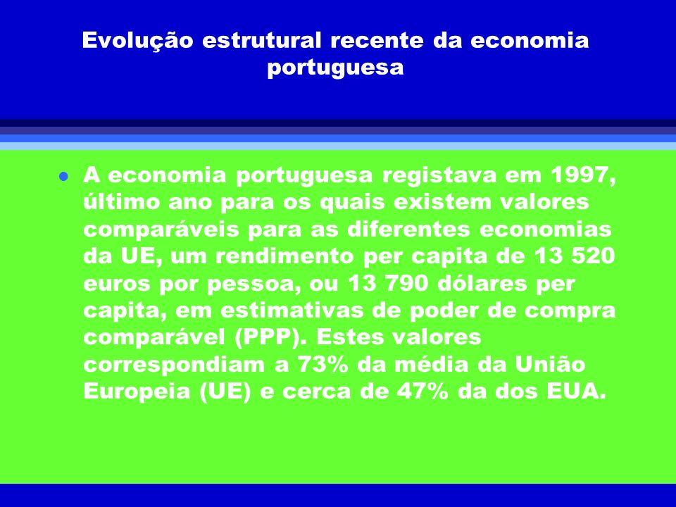 Evolução estrutural recente da economia portuguesa l A economia portuguesa registava em 1997, último ano para os quais existem valores comparáveis par