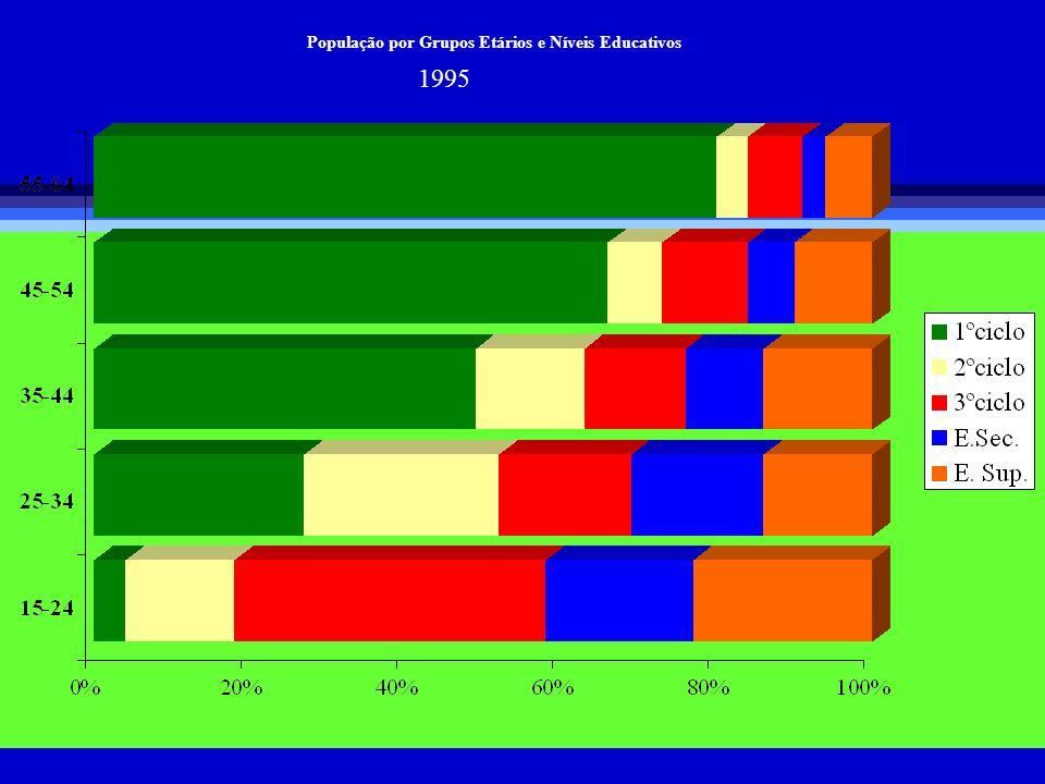 População por Grupos Etários e Níveis Educativos 1995