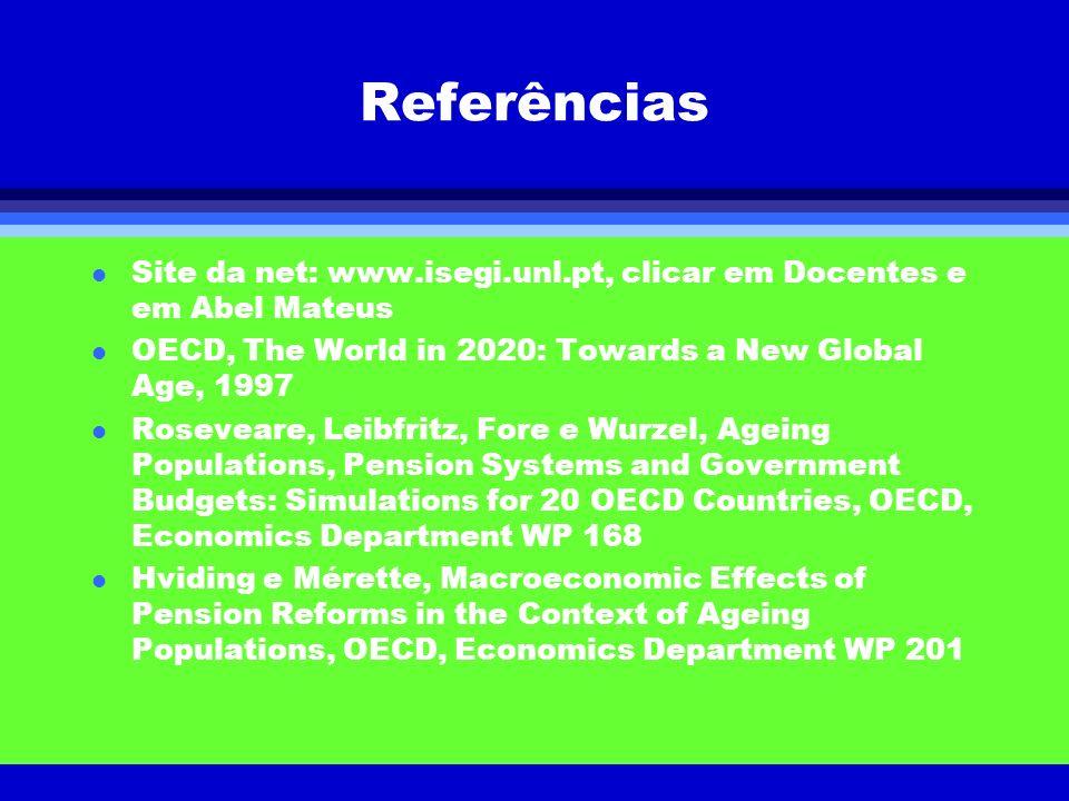 Referências l Site da net: www.isegi.unl.pt, clicar em Docentes e em Abel Mateus l OECD, The World in 2020: Towards a New Global Age, 1997 l Roseveare