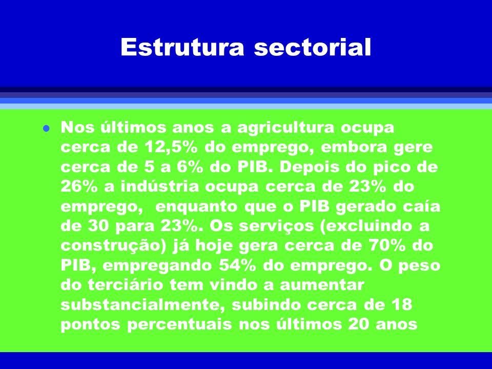 Estrutura sectorial l Nos últimos anos a agricultura ocupa cerca de 12,5% do emprego, embora gere cerca de 5 a 6% do PIB. Depois do pico de 26% a indú