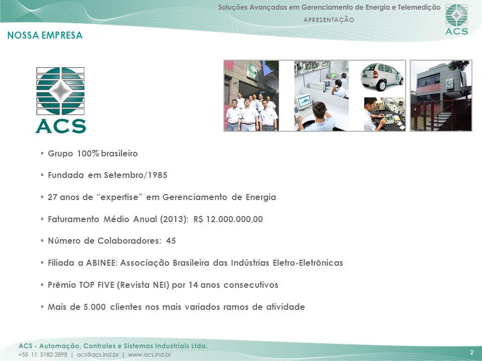 APRESENTAÇÃO 2 NOSSA EMPRESA Grupo 100% brasileiro Fundada em Setembro/1985 27 anos de expertise em Gerenciamento de Energia Faturamento Médio Anual (