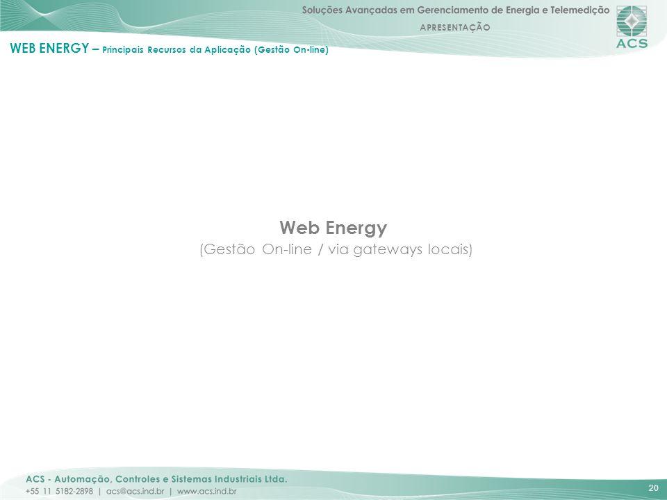 APRESENTAÇÃO 20 Web Energy (Gestão On-line / via gateways locais) WEB ENERGY – Principais Recursos da Aplicação (Gestão On-line)