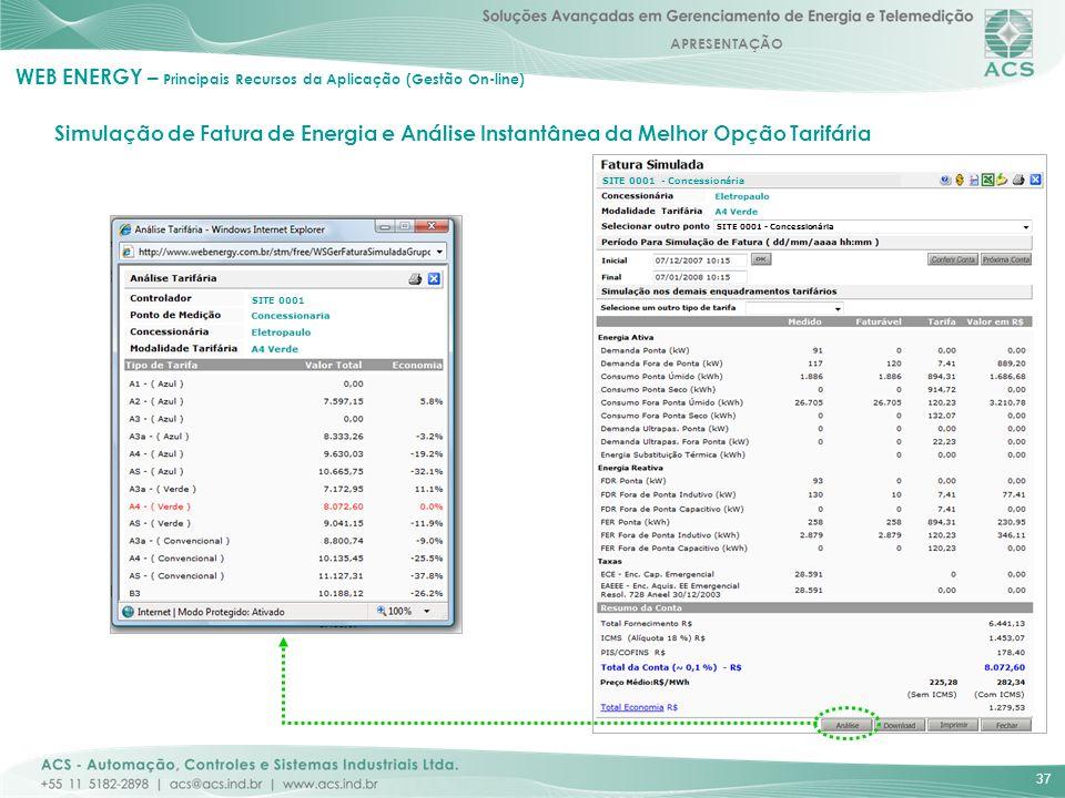 APRESENTAÇÃO 37 Simulação de Fatura de Energia e Análise Instantânea da Melhor Opção Tarifária WEB ENERGY – Principais Recursos da Aplicação (Gestão O