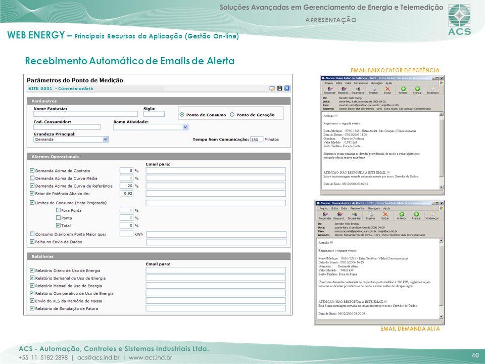 APRESENTAÇÃO 40 EMAIL BAIXO FATOR DE POTÊNCIA EMAIL DEMANDA ALTA Recebimento Automático de Emails de Alerta WEB ENERGY – Principais Recursos da Aplica