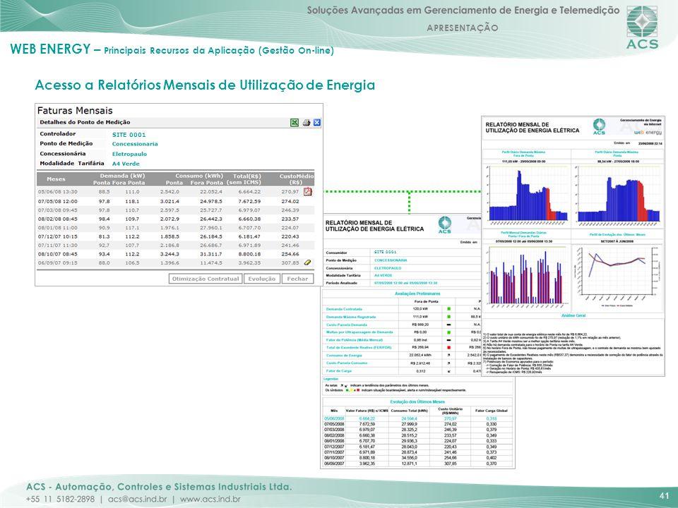 APRESENTAÇÃO 41 Acesso a Relatórios Mensais de Utilização de Energia WEB ENERGY – Principais Recursos da Aplicação (Gestão On-line) SITE 0001