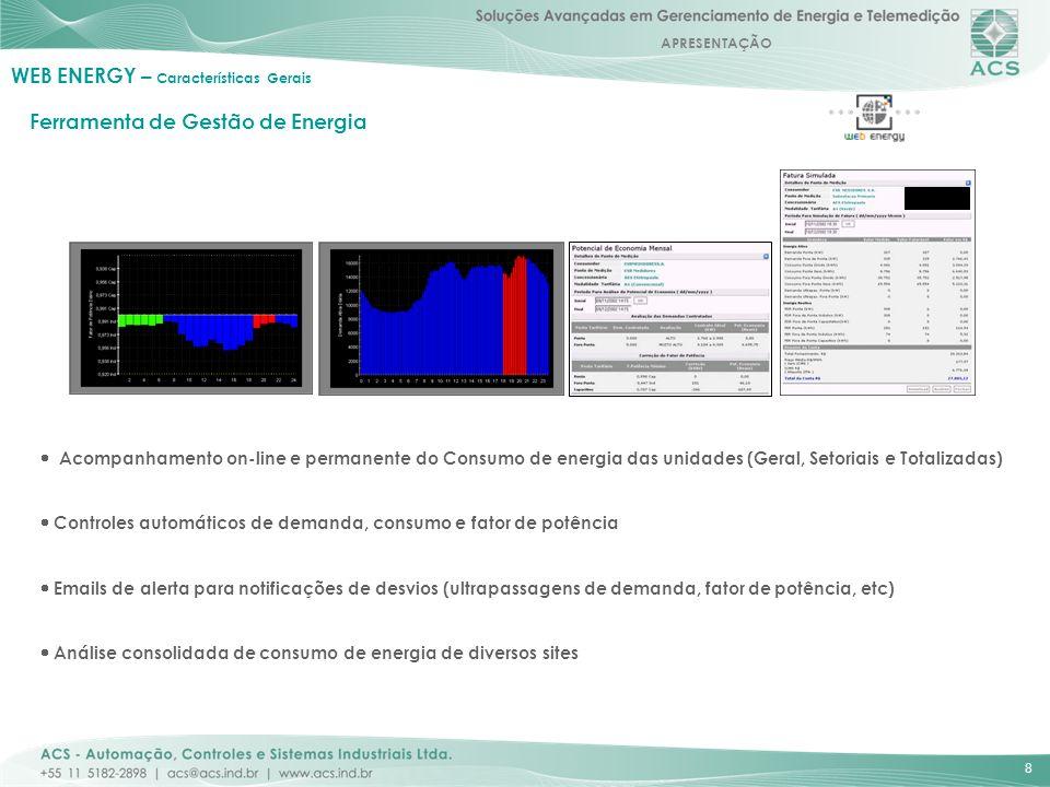 APRESENTAÇÃO 8 Ferramenta de Gestão de Energia Acompanhamento on-line e permanente do Consumo de energia das unidades (Geral, Setoriais e Totalizadas)