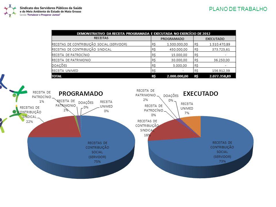 PLANO DE TRABALHO DEMONSTRATIVO DA RECEITA PROGRAMADA E EXECUTADA NO EXERCÍCIO DE 2012 RECEITAS PROGRAMADO EXECUTADO RECEITAS DE CONTRIBUIÇÃO SOCIAL (