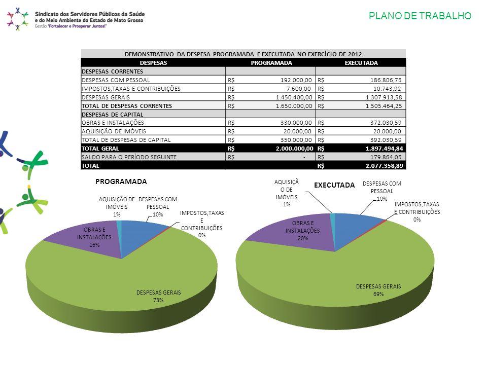 PLANO DE TRABALHO DEMONSTRATIVO DA DESPESA PROGRAMADA E EXECUTADA NO EXERCÍCIO DE 2012 DESPESAS PROGRAMADA EXECUTADA DESPESAS CORRENTES DESPESAS COM P