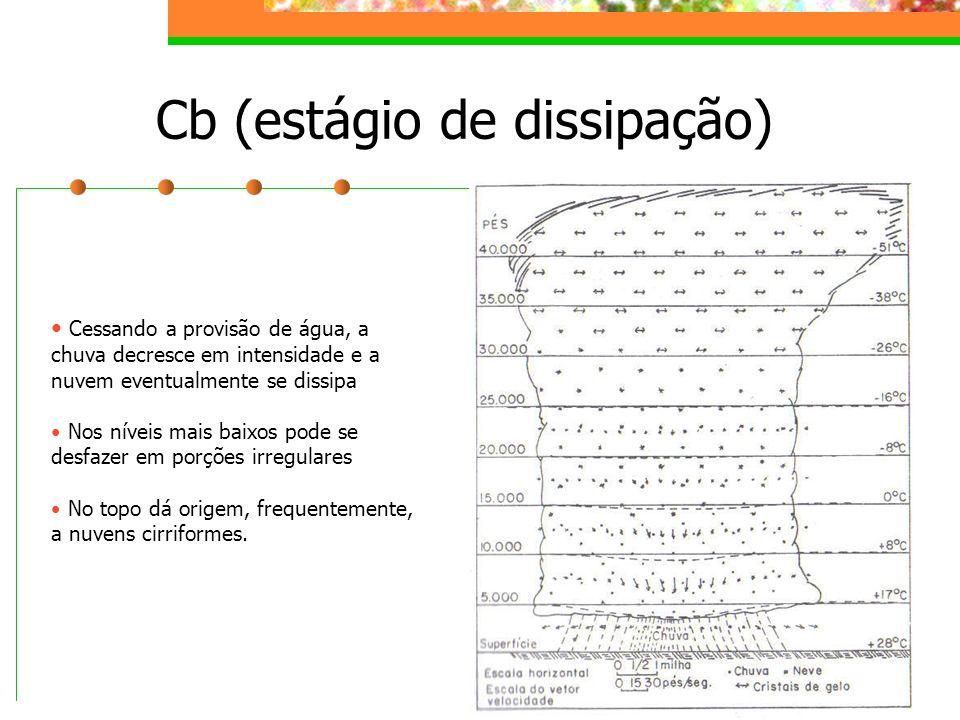 Cb (estágio de dissipação) Cessando a provisão de água, a chuva decresce em intensidade e a nuvem eventualmente se dissipa Nos níveis mais baixos pode