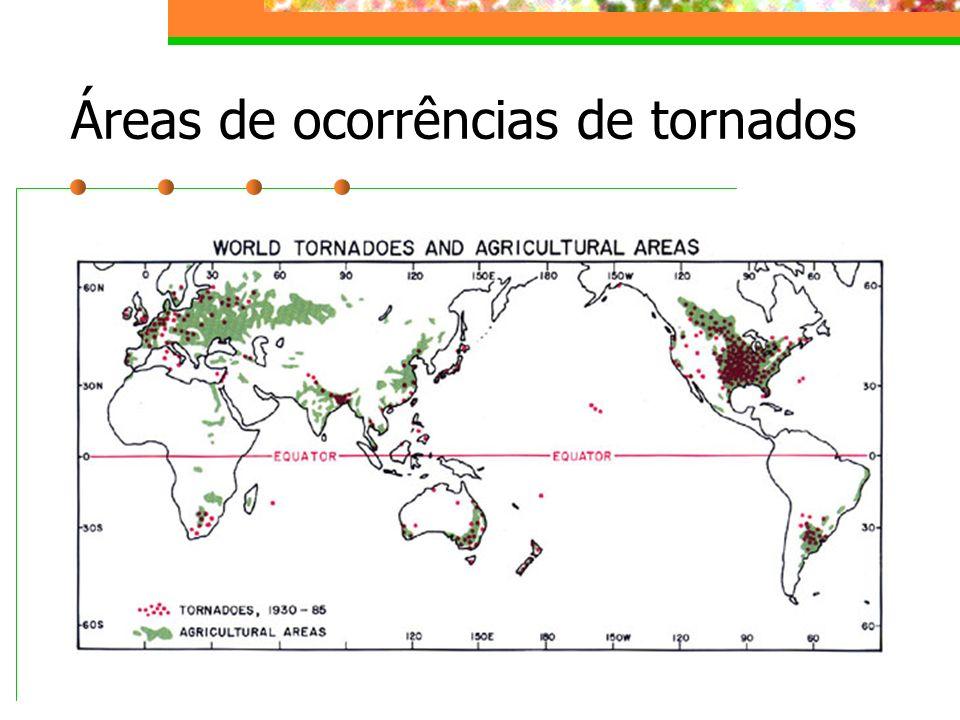 Áreas de ocorrências de tornados