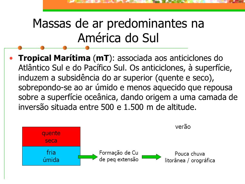 Massas de ar predominantes na América do Sul Tropical Marítima (mT): associada aos Anticiclones do Atlântico Sul e do Pacífico Sul.