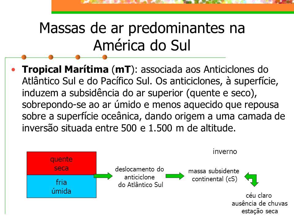 Massas de ar predominantes na América do Sul Tropical Marítima (mT): associada aos Anticiclones do Atlântico Sul e do Pacífico Sul. Os anticiclones, à