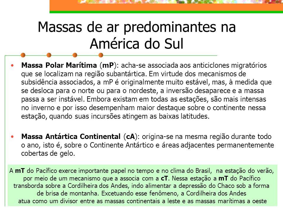 Massas de ar predominantes na América do Sul Massa Polar Marítima (mP): acha-se associada aos anticiclones migratórios que se localizam na região suba