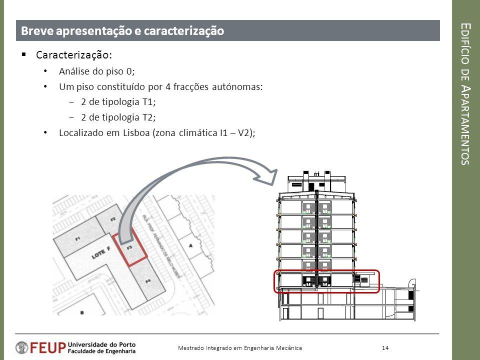 E DIFÍCIO DE A PARTAMENTOS Breve apresentação e caracterização Caracterização: Análise do piso 0; Um piso constituído por 4 fracções autónomas: 2 de tipologia T1; 2 de tipologia T2; Localizado em Lisboa (zona climática I1 – V2); 14 Mestrado Integrado em Engenharia Mecânica