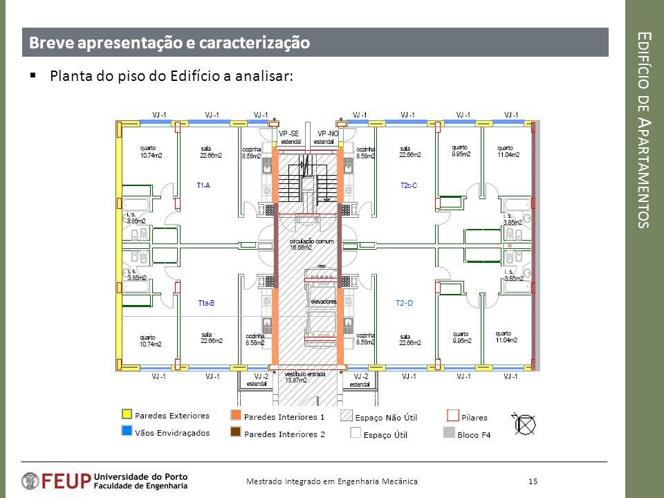 E DIFÍCIO DE A PARTAMENTOS Breve apresentação e caracterização Planta do piso do Edifício a analisar: 15 Mestrado Integrado em Engenharia Mecânica