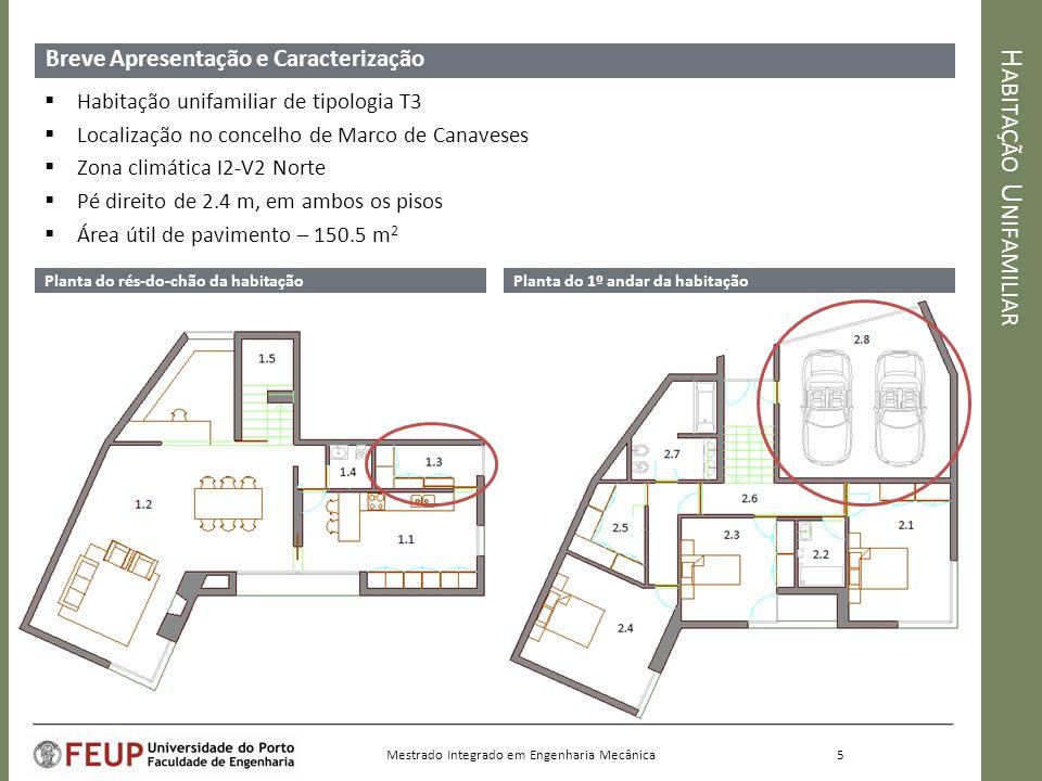 H ABITAÇÃO U NIFAMILIAR Breve Apresentação e Caracterização Planta do rés-do-chão da habitaçãoPlanta do 1º andar da habitação 5 Mestrado Integrado em Engenharia Mecânica Habitação unifamiliar de tipologia T3 Localização no concelho de Marco de Canaveses Zona climática I2-V2 Norte Pé direito de 2.4 m, em ambos os pisos Área útil de pavimento – 150.5 m 2