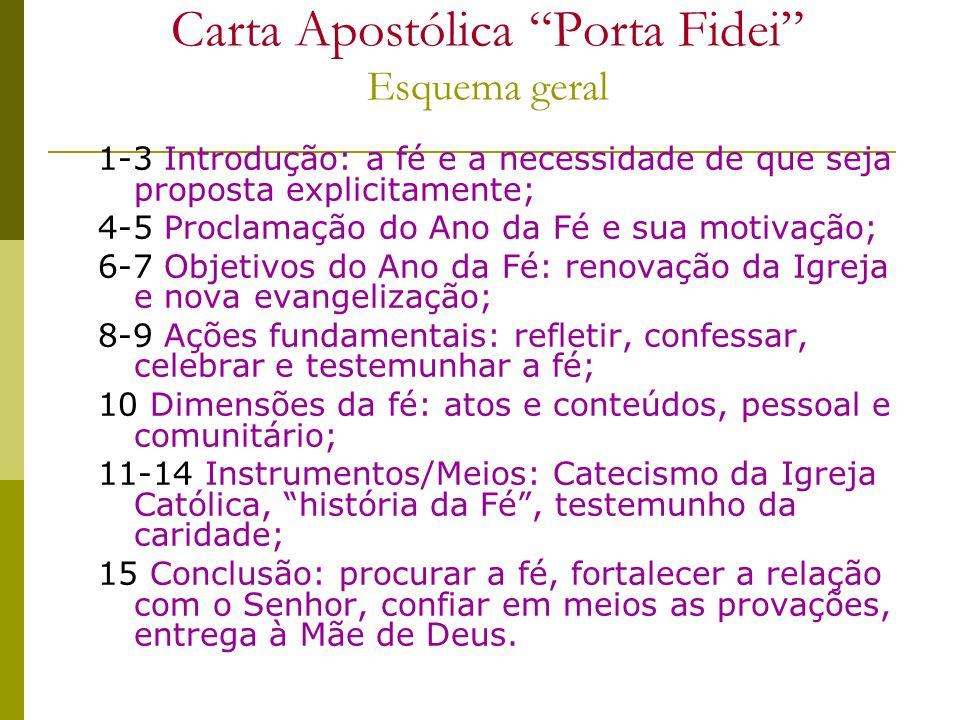 Carta Apostólica Porta Fidei Esquema geral 1-3 Introdução: a fé e a necessidade de que seja proposta explicitamente; 4-5 Proclamação do Ano da Fé e su
