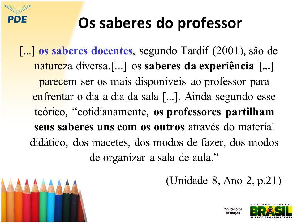 Os saberes do professor [...] os saberes docentes, segundo Tardif (2001), são de natureza diversa.[...] os saberes da experiência [...] parecem ser os