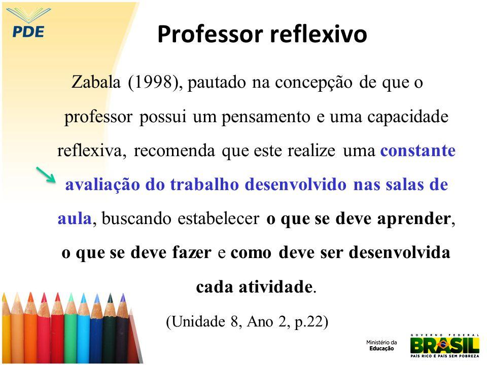 Professor reflexivo Zabala (1998), pautado na concepção de que o professor possui um pensamento e uma capacidade reflexiva, recomenda que este realize