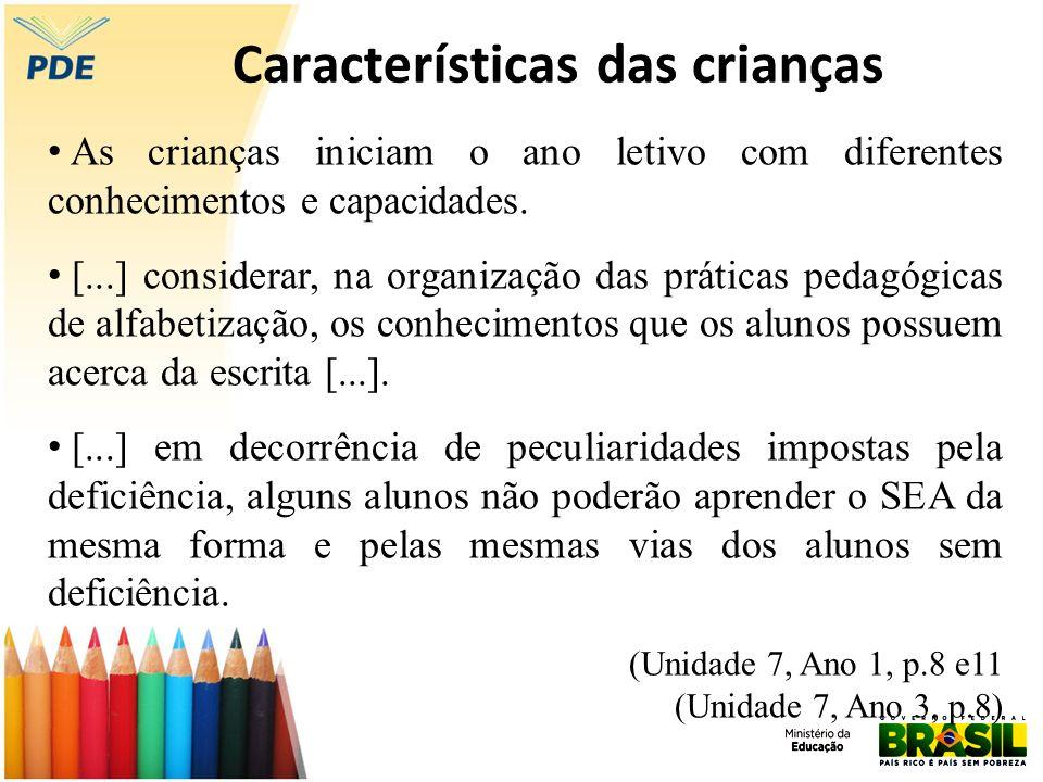 Características das crianças As crianças iniciam o ano letivo com diferentes conhecimentos e capacidades. [...] considerar, na organização das prática
