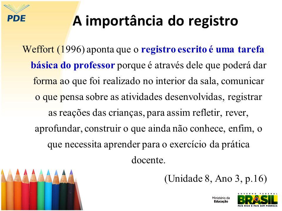 A importância do registro Weffort (1996) aponta que o registro escrito é uma tarefa básica do professor porque é através dele que poderá dar forma ao