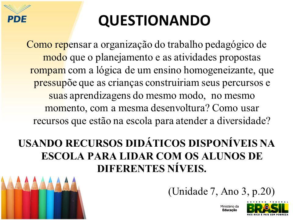QUESTIONANDO Como repensar a organização do trabalho pedagógico de modo que o planejamento e as atividades propostas rompam com a lógica de um ensino