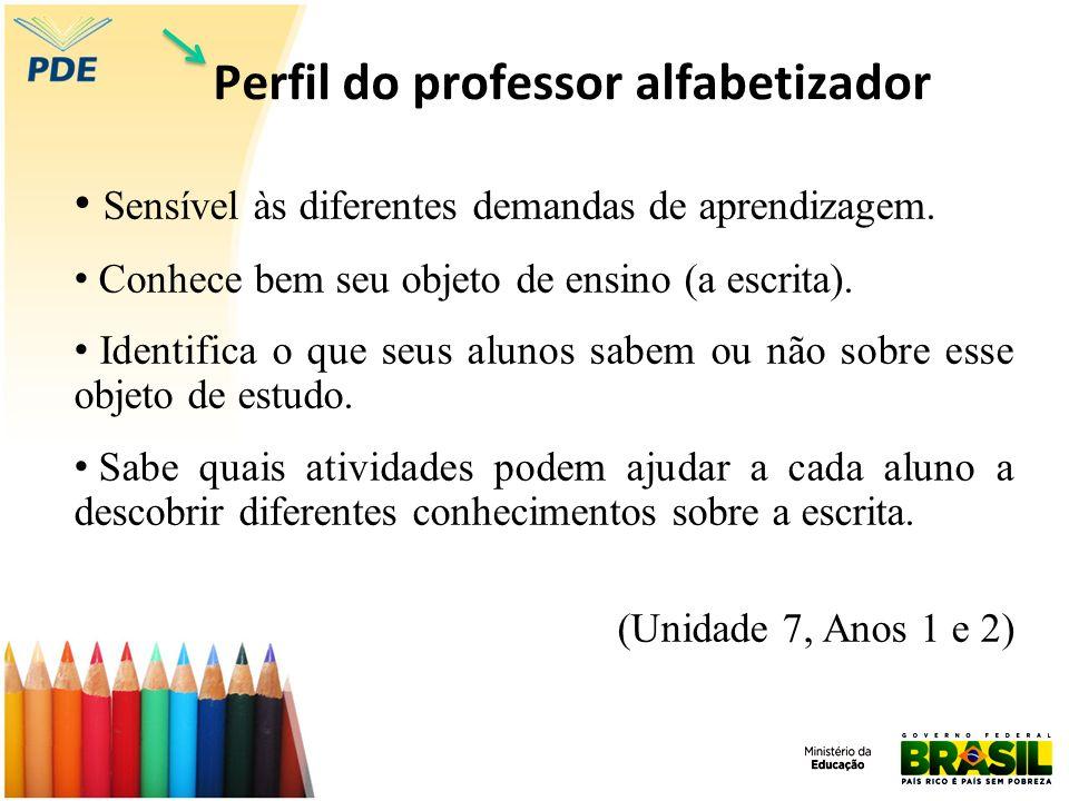 Perfil do professor alfabetizador Sensível às diferentes demandas de aprendizagem. Conhece bem seu objeto de ensino (a escrita). Identifica o que seus