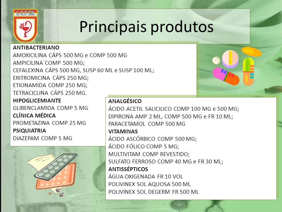 Principais produtos ANTIBACTERIANO AMOXICILINA CÁPS 500 MG e COMP 500 MG AMPICILINA´COMP 500 MG; CEFALEXINA CÁPS 500 MG, SUSP 60 ML e SUSP 100 ML; ERI