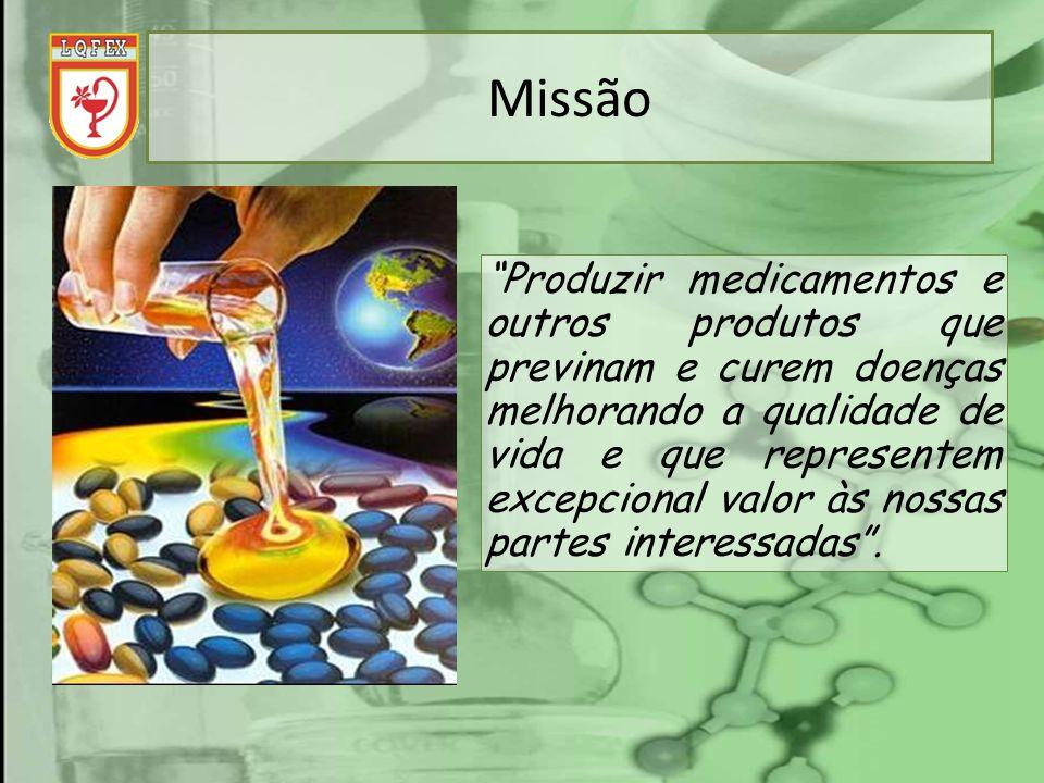 Missão Produzir medicamentos e outros produtos que previnam e curem doenças melhorando a qualidade de vida e que representem excepcional valor às noss