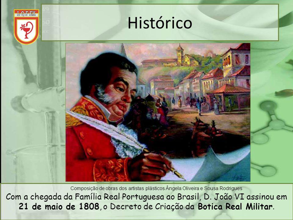 Com a chegada da Família Real Portuguesa ao Brasil, D. João VI assinou em 21 de maio de 1808, o Decreto de Criação da Botica Real Militar. Composição