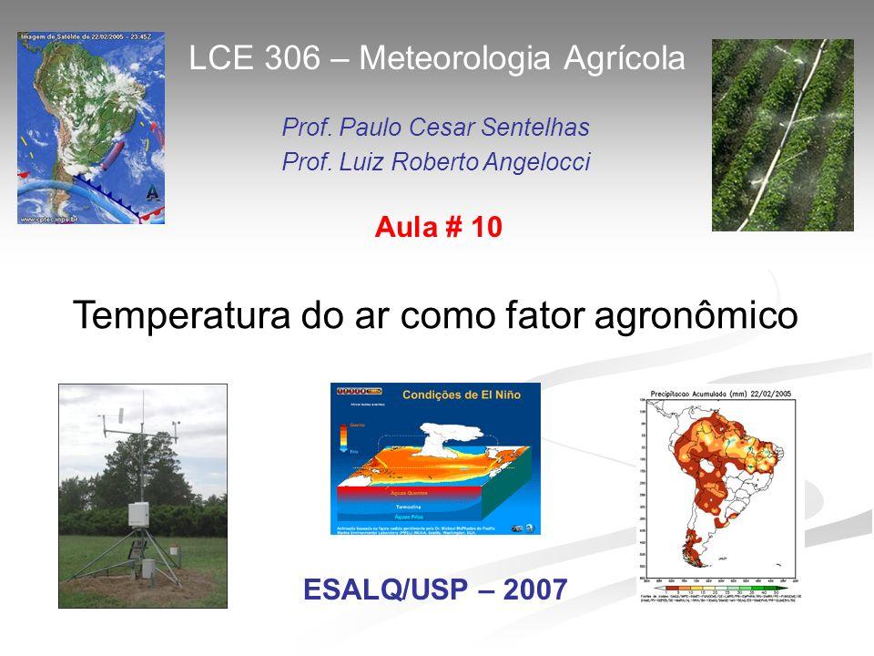 Temperatura do ar como fator agronômico LCE 306 – Meteorologia Agrícola Prof. Paulo Cesar Sentelhas Prof. Luiz Roberto Angelocci ESALQ/USP – 2007 Aula