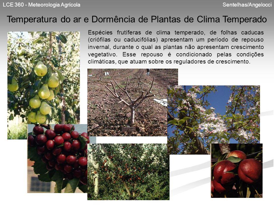 LCE 360 - Meteorologia Agrícola Sentelhas/Angelocci Temperatura do ar e Dormência de Plantas de Clima Temperado Espécies frutíferas de clima temperado
