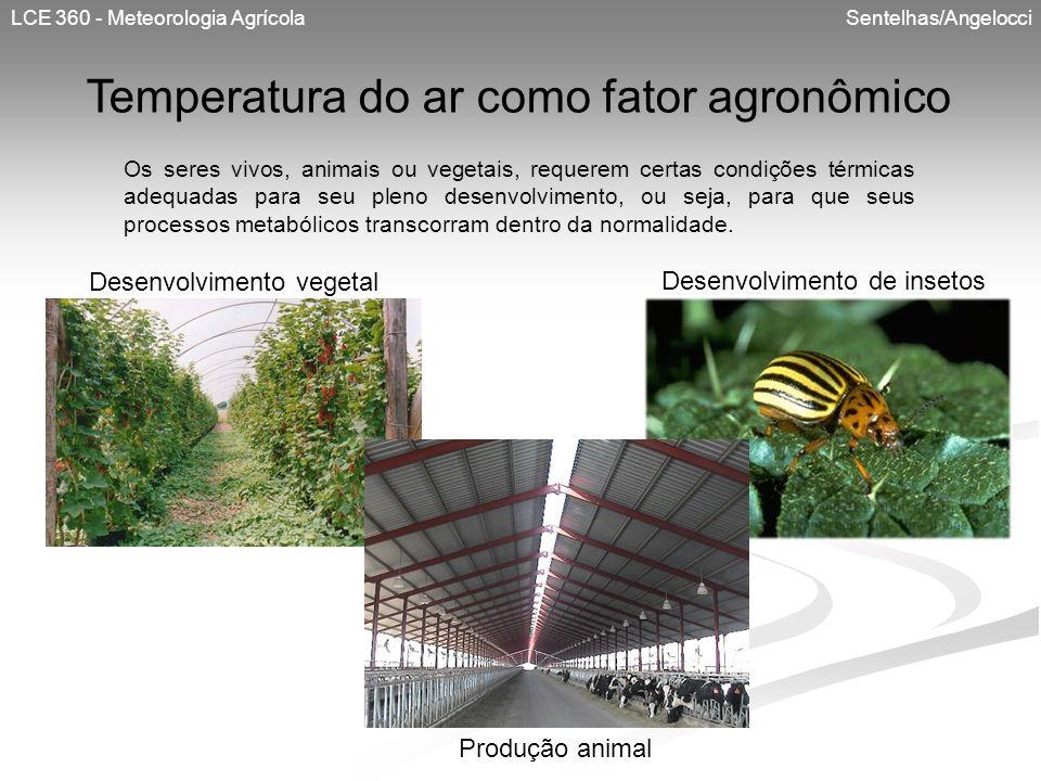 LCE 360 - Meteorologia Agrícola Sentelhas/Angelocci Temperatura do ar como fator agronômico Os seres vivos, animais ou vegetais, requerem certas condi