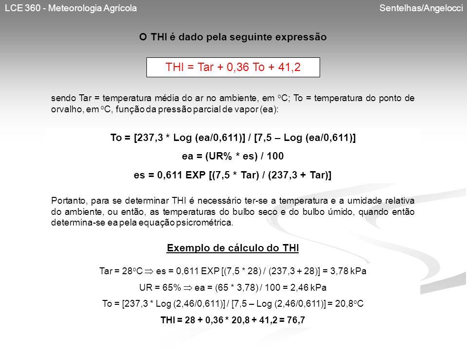 LCE 360 - Meteorologia Agrícola Sentelhas/Angelocci O THI é dado pela seguinte expressão THI = Tar + 0,36 To + 41,2 sendo Tar = temperatura média do a