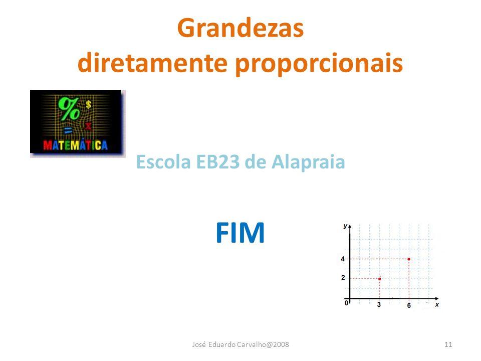 Grandezas diretamente proporcionais José Eduardo Carvalho@200811 Escola EB23 de Alapraia FIM