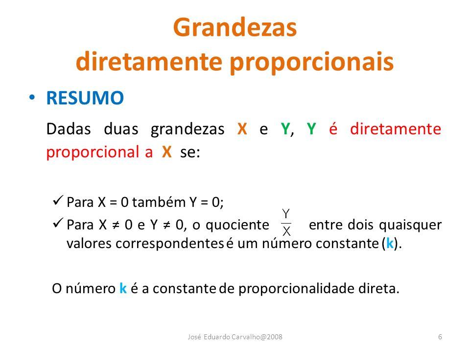 Grandezas diretamente proporcionais RESUMO Dadas duas grandezas X e Y, Y é diretamente proporcional a X se: Para X = 0 também Y = 0; Para X 0 e Y 0, o