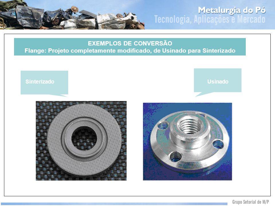 EXEMPLOS DE CONVERSÃO Flange: Projeto completamente modificado, de Usinado para Sinterizado Automotivo 70% SinterizadoUsinado