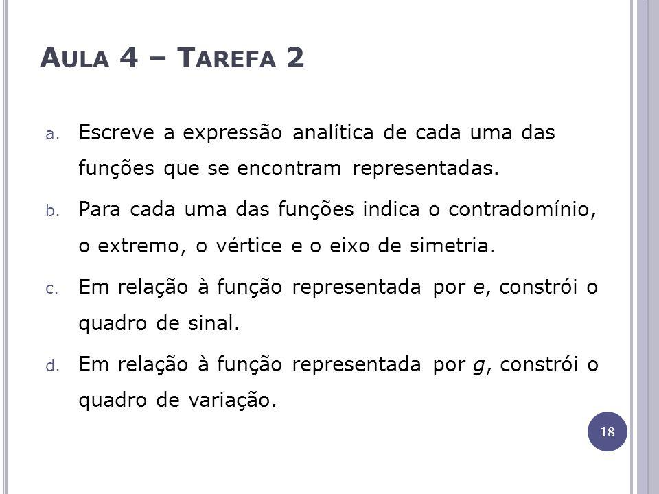 A ULA 4 – T AREFA 2 a. Escreve a expressão analítica de cada uma das funções que se encontram representadas. b. Para cada uma das funções indica o con