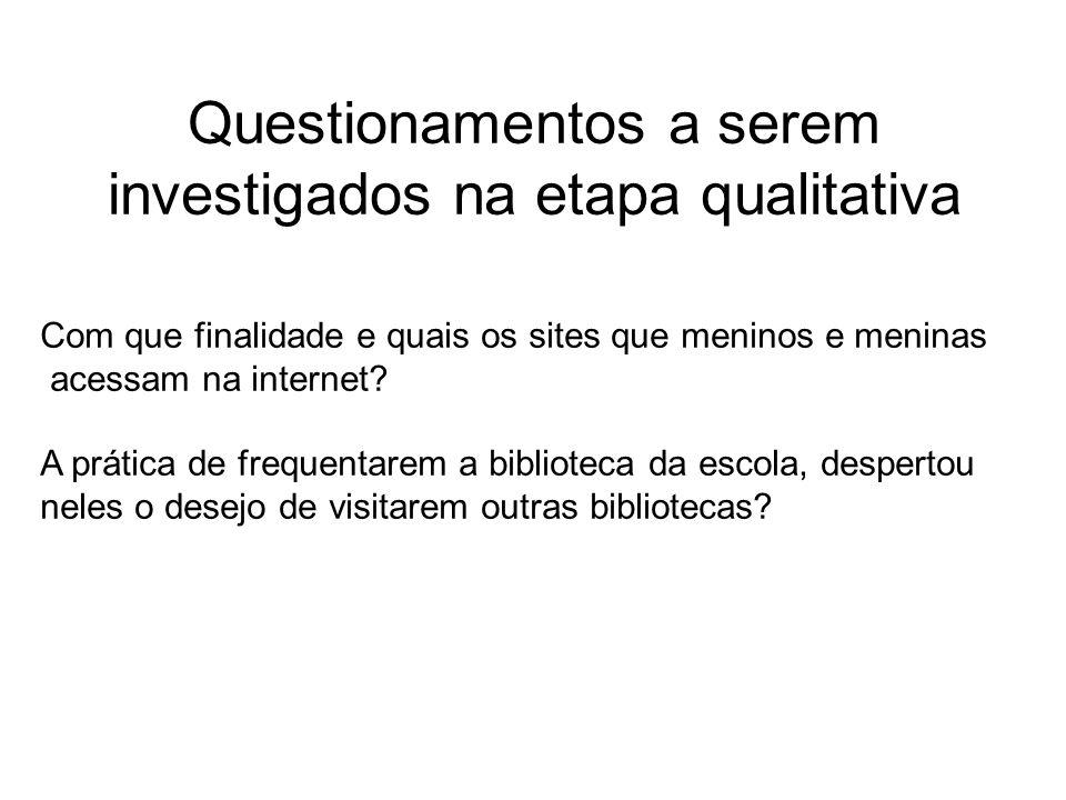 Questionamentos a serem investigados na etapa qualitativa Com que finalidade e quais os sites que meninos e meninas acessam na internet? A prática de