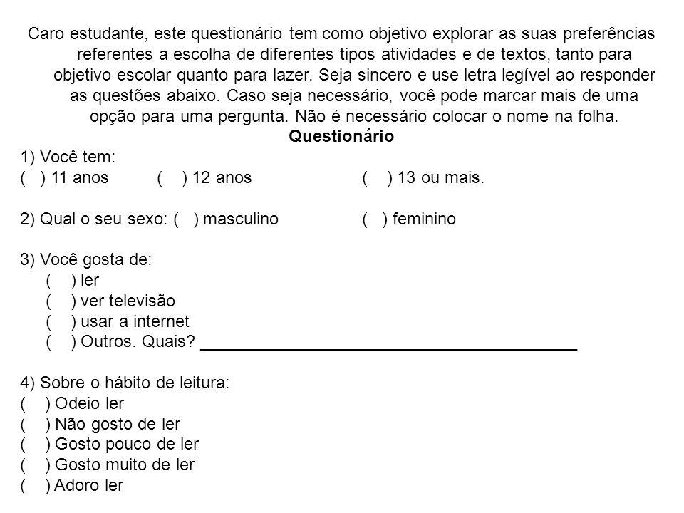 Caro estudante, este questionário tem como objetivo explorar as suas preferências referentes a escolha de diferentes tipos atividades e de textos, tan
