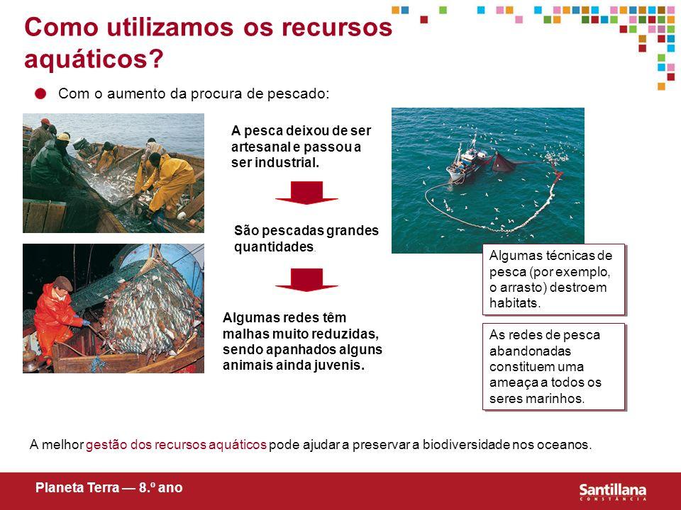 Como utilizamos os recursos aquáticos? Com o aumento da procura de pescado: A pesca deixou de ser artesanal e passou a ser industrial. São pescadas gr