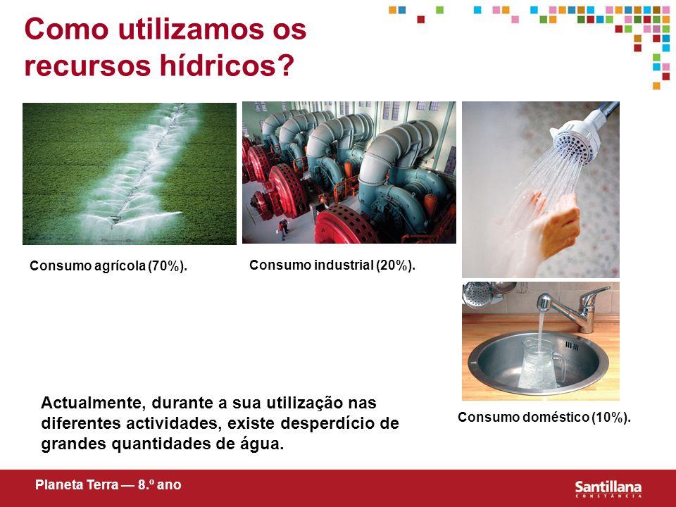 Como utilizamos os recursos hídricos? Actualmente, durante a sua utilização nas diferentes actividades, existe desperdício de grandes quantidades de á