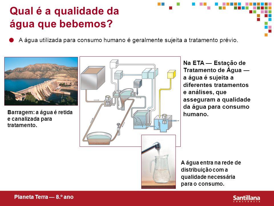 Qual é a qualidade da água que bebemos? A água utilizada para consumo humano é geralmente sujeita a tratamento prévio. Barragem: a água é retida e can