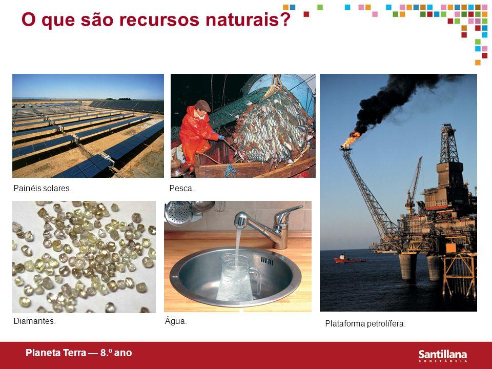 O que são recursos naturais? Planeta Terra 8.º ano Painéis solares. Água. Pesca. Diamantes. Plataforma petrolífera.